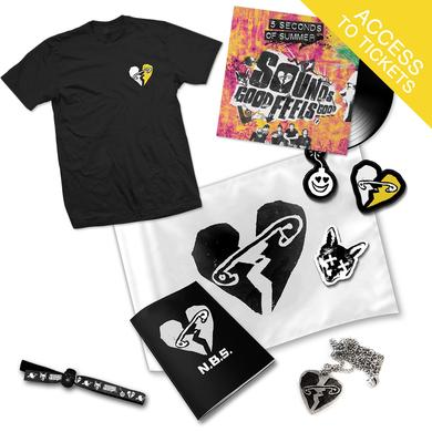 "5SOS Sounds Good Feels Good 12"" Vinyl + Safety Pin Heart T-Shirt + New Broken Scene Pack + Wristband"