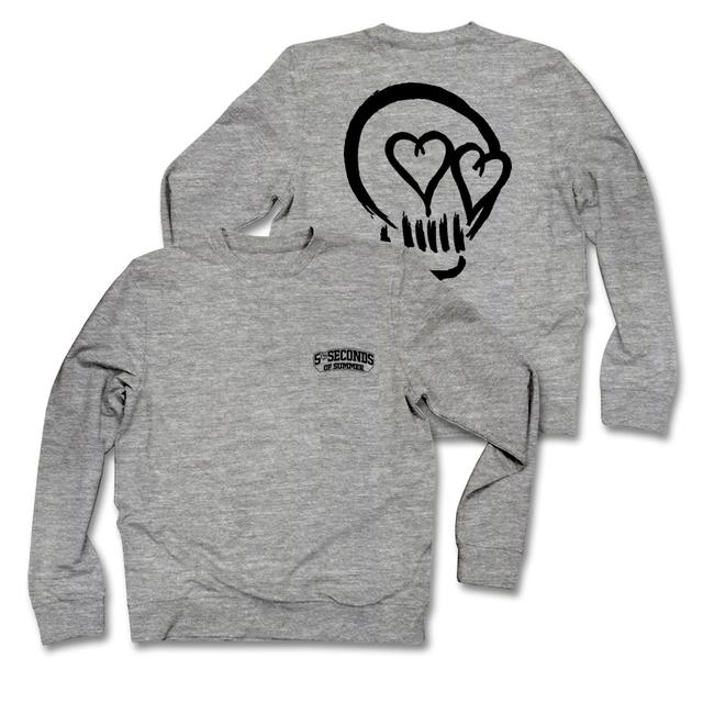 5SOS: Black Skull Grey Sweatshirt