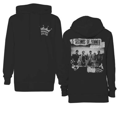 5 Seconds Of Summer Crown Pocket Scrapbook Pullover Hoodie