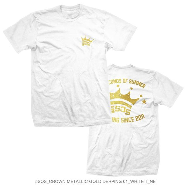 5 Seconds Of Summer Metallic Gold Crown Derping White Tee