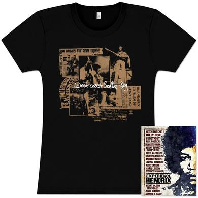 Jimi Hendrix Seattle Boy Ladies T-Shirt + DVD Bundle