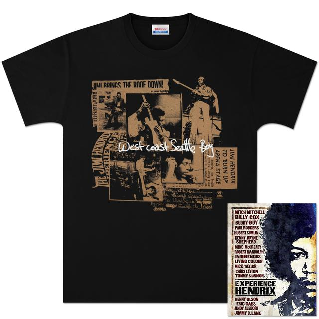 Jimi Hendrix Seattle Boy T-Shirt (Gold) + DVD Bundle