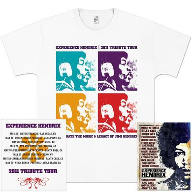 Jimi Hendrix Experience Hendrix 2011 Tour Quads T-Shirt + DVD Bundle