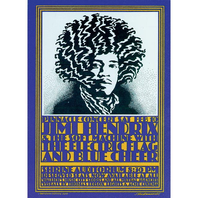 Jimi Hendrix Shrine Auditorium 2/10/1968 LA, CA Poster