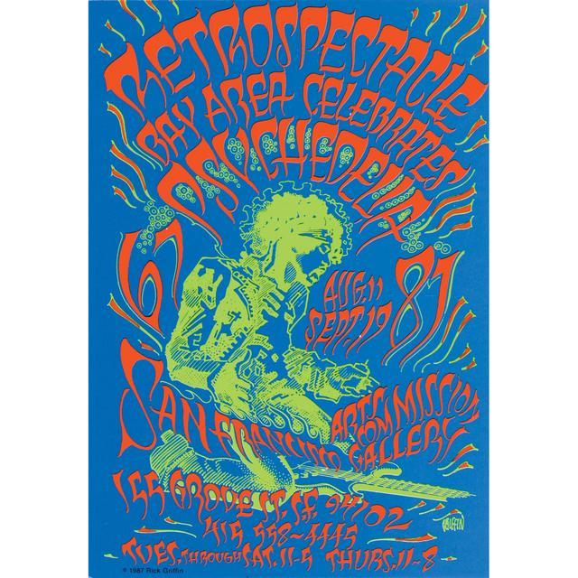 Jimi Hendrix 1987 San Francisco Art Retrospectacle Poster