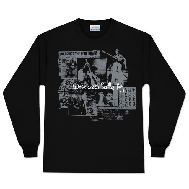 Jimi Hendrix Seattle Boy Long Sleeve T-Shirt (Silver)