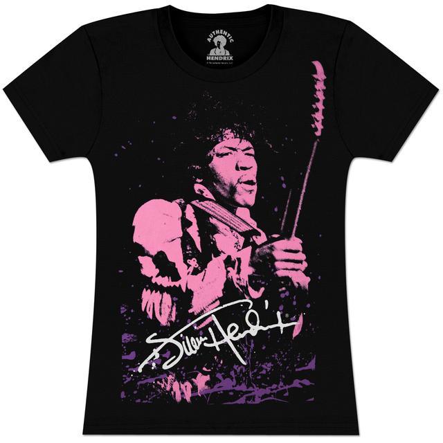 Jimi Hendrix Hendrix Pink Portrait Juniors T-Shirt