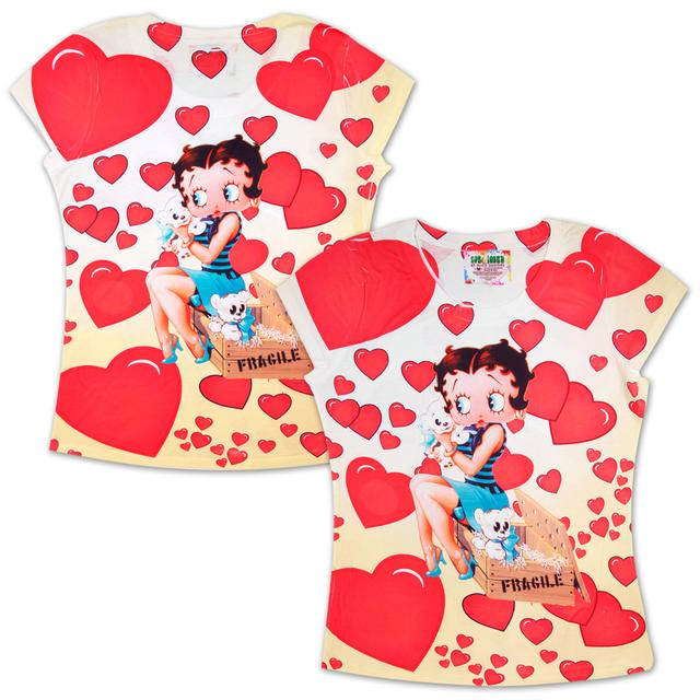 Betty Boop Fragile Hearts Ladies T-shirt