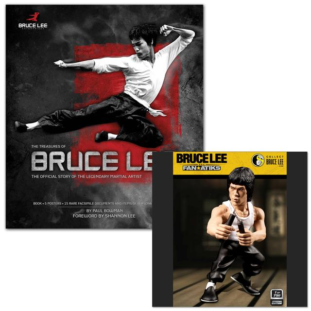 The Treasures of Bruce Lee Book/EXCLUSIVE LTD Edition Bruce Lee 6inch Tank & Nunchuck Figure Bundle