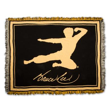 Bruce Lee Flying Man Black/Yellow Tapestry Throw