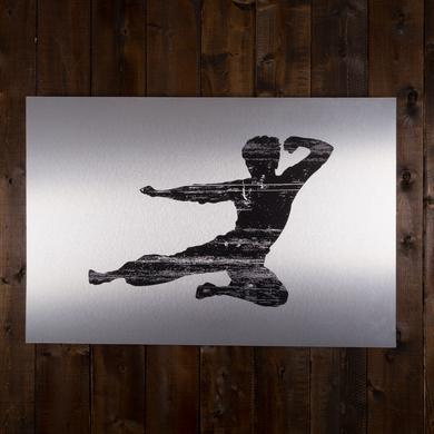 Bruce Lee Action Ink Print on Metal