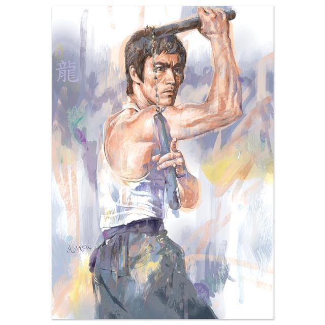 Bruce Lee Milton Wong Nunchuck Print