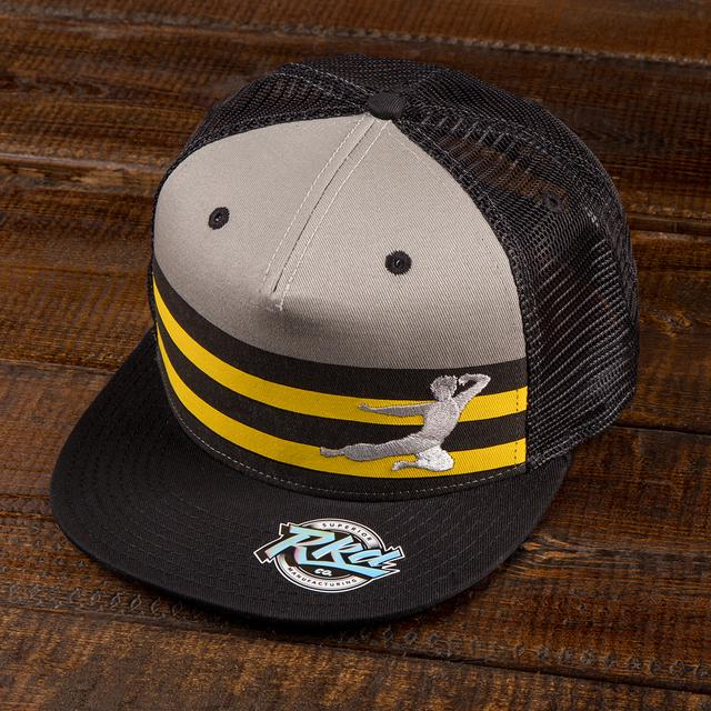 Bruce Lee Flying Man Striped Trucker Hat