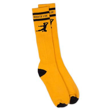 Bruce Lee Flying Man Yellow Knee High Socks