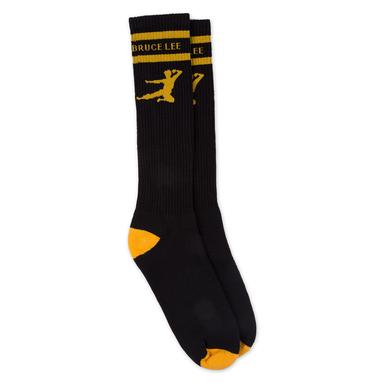 Bruce Lee Flying Man Black Knee High Socks