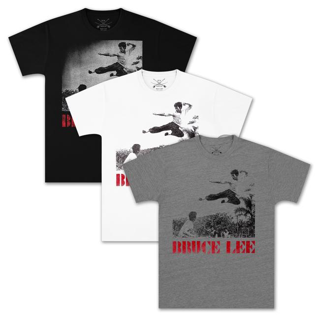 Bruce Lee Flying Jump Kick T-shirt by Bow & Arrow