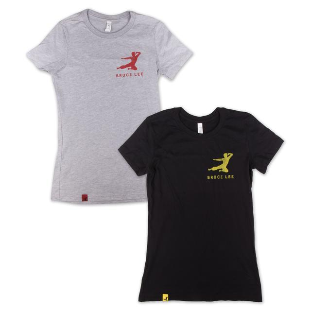 Bruce Lee Small Logo Flying Man Ladies T-Shirt