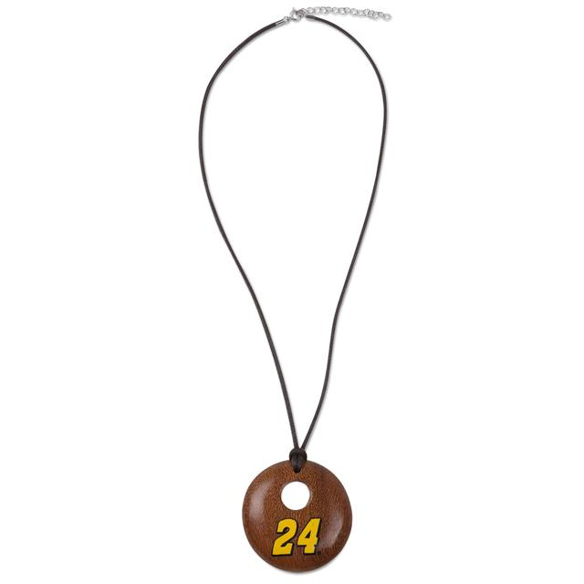 Hendrick Motorsports Jeff Gordon #24 Round Wood Necklace