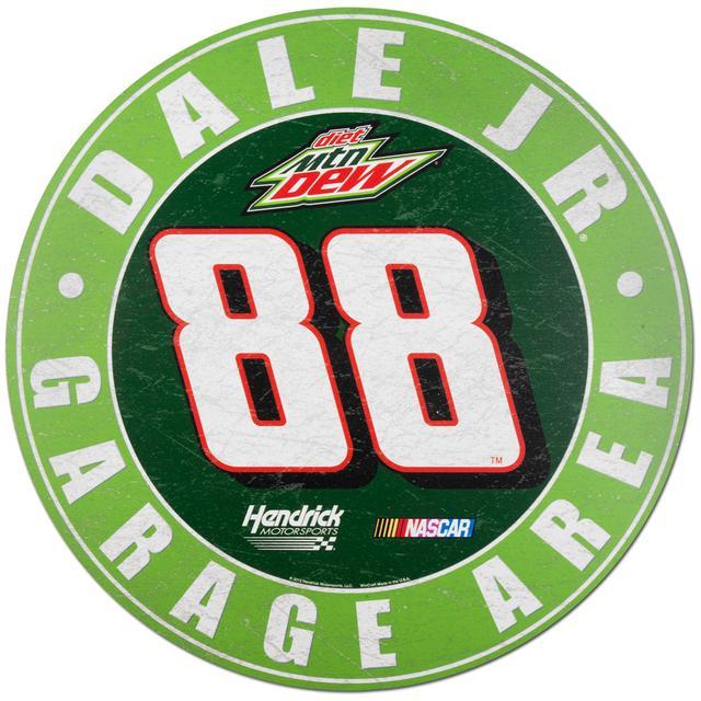 """Hendrick Motorsports Dale Jr #88 Diet Mt Dew 20"""" Round Wood Sign"""