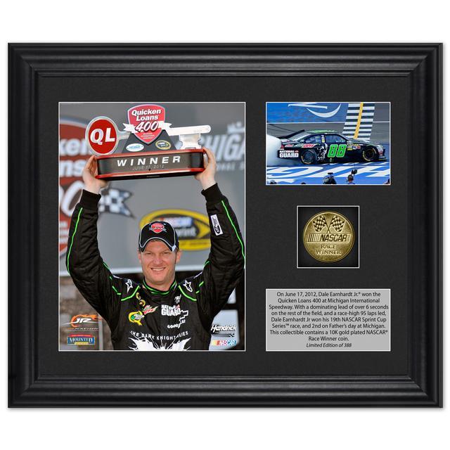Hendrick Motorsports Dale Earnhardt Jr. 2012 Quicken Loans 400 Race Winner Framed 6x5 Photo w/ Plate & Gold Coin – L.E. of 388
