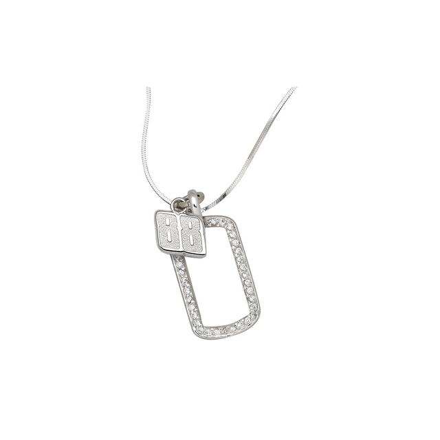 Hendrick Motorsports Dale Jr Sterling Silver Mini Dog Tag Necklace