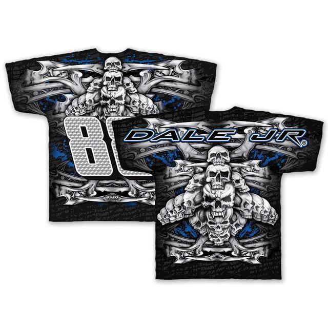 Hendrick Motorsports Dale Jr. #88 Black Skull Total Print T-Shirt
