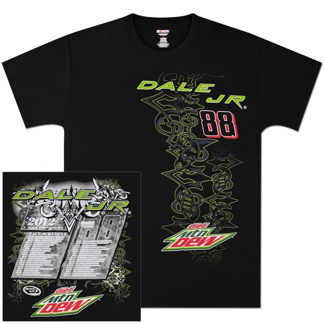 Hendrick Motorsports Dale Jr Diet Mountain Dew 2012 Schedule T-shirt