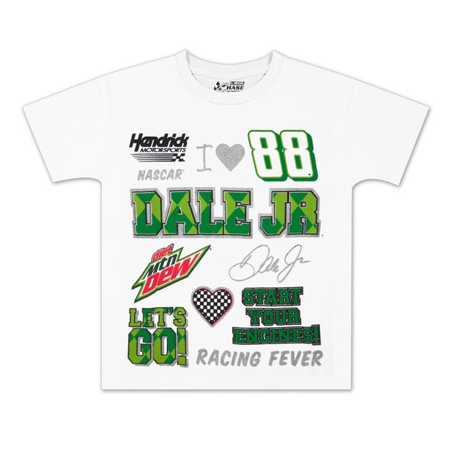 Hendrick Motorsports Dale Jr #88 MtDew Girls Crest T-shirt