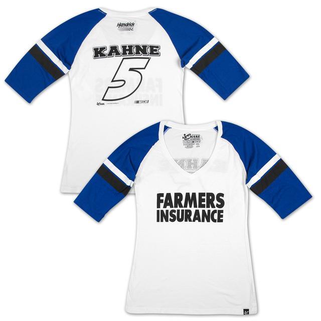 Hendrick Motorsports Kasey Kahne #5 Farmers Ladies Varsity Baseball Jersey T-shirt