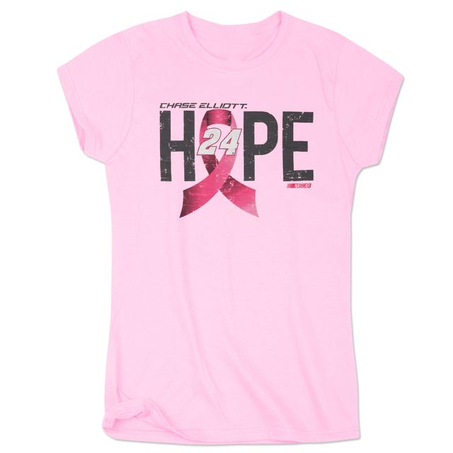 Hendrick Motorsports Chase Elliott #24 Ladies Breast Cancer Awareness Hope T-Shirt