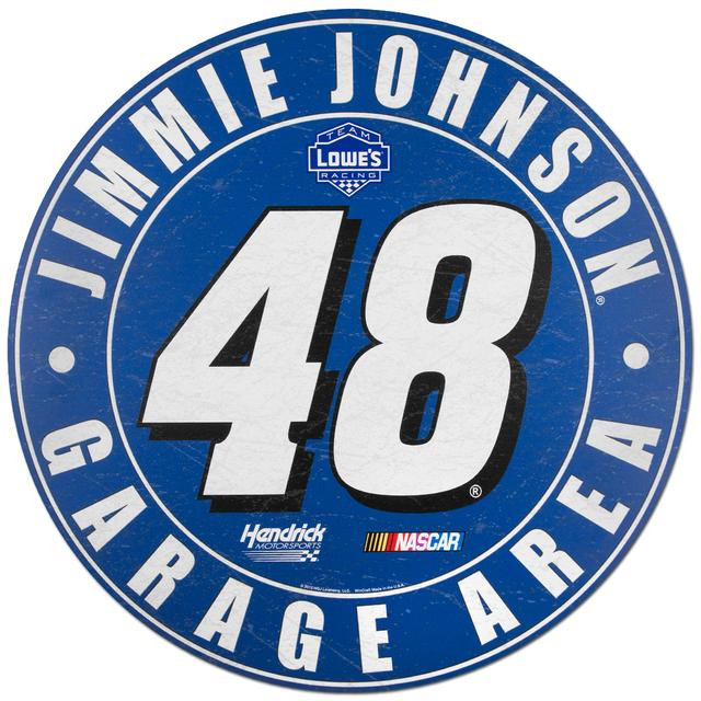 "Hendrick Motorsports Jimmie Johnson #48 Lowe's 20"" Round Wood Sign"