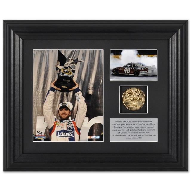 Hendrick Motorsports Jimmie Johnson #48 2012 All Star Win Framed 6X5 & 3 1/2 X 2 1/2 photos and race winner 10K gold plated coin