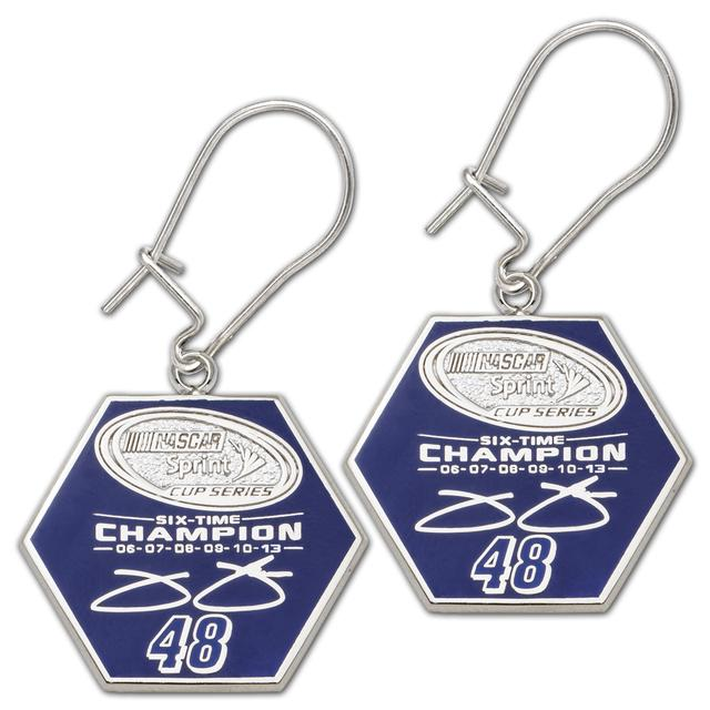 Hendrick Motorsports Jimmie Johnson #48 2013 Sprint Cup Champion Enameled Dangle Earrings