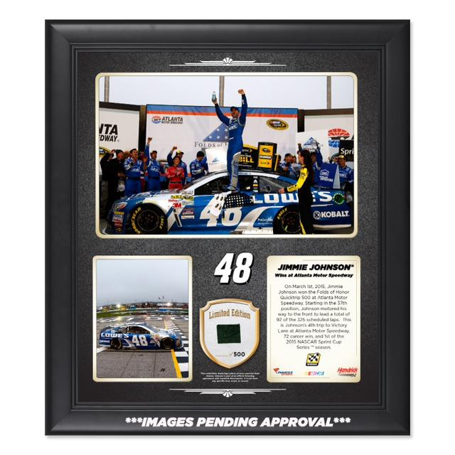 Hendrick Motorsports Jimmie Johnson 2015 QuikTrip 500 Win Framed 15'' x 17'' Collage With-Used Tire