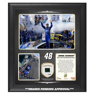 Hendrick Motorsports Jimmie Johnson 2015 Dover Race Win Framed 15'' x 17'' Collage With -Used Tire