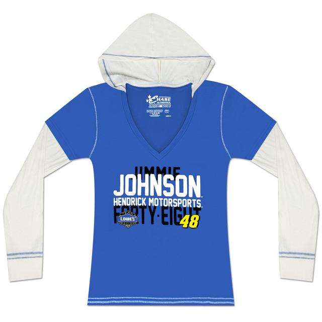 Hendrick Motorsports Jimmie Johnson #48 Ladies Layered Hoodie Tee Blue