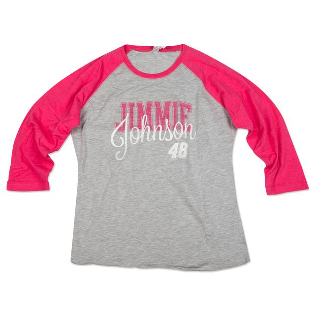 Hendrick Motorsports Jimmie Johnson #48 Ladies Baseball T-Shirt