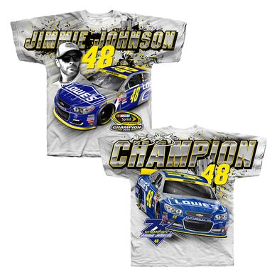 Hendrick Motorsports Jimmie Johnson 2016 NASCAR Champ Total Print T-shirt