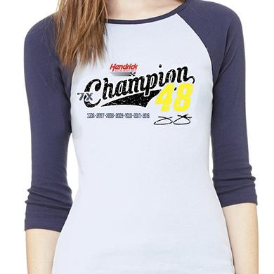 Hendrick Motorsports Jimmie Johnson 7X Champion Ladies 3/4 raglan T-shirt