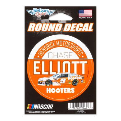 "Hendrick Motorsports Chase Elliott #9 2018 NASCAR Hooters Round Decal - 3"""