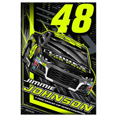 "Hendrick Motorsports Jimmie Johnson #48 2018 NASCAR Fluorescent Poster - 24""x36"""