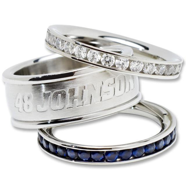 Jimmie Johnson #48 Crystal Stainless Stack Rings