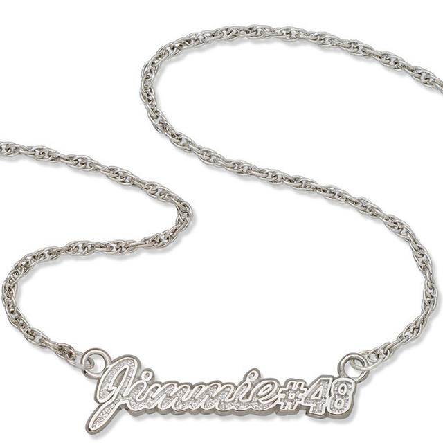 "Jimmie Johnson #48 16"" Script Sterling Silver Necklace"