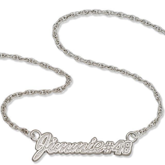 "Jimmie Johnson #48 16"" Script Sterling Silver Necklace"