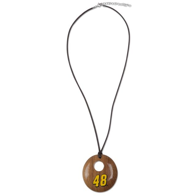 Jimmie Johnson #48 Round Wood Necklace