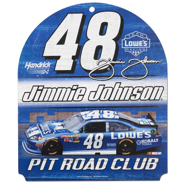"Jimmie Johnson #48 Lowes  10"" x 11"" Wood Club Sign"