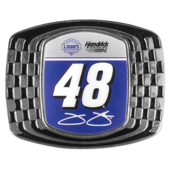 Jimmie Johnson Checkered Metal Magnet