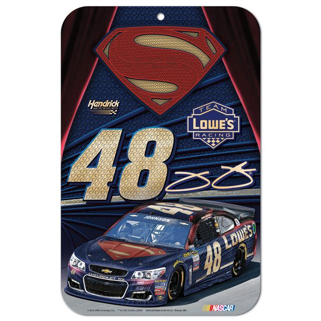 "Jimmie Johnson #48 Superman 11"" x 17"" Styrene sign"