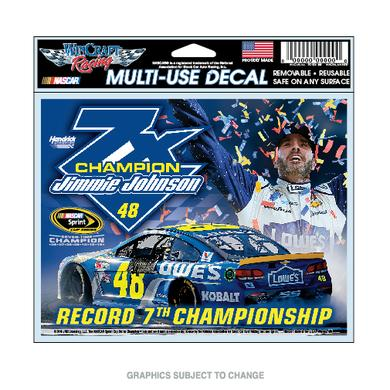 "Jimmie Johnson 2016 NASCAR Sprint Cup Champion Multi-use Decal 4.5"" X 6"""