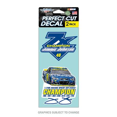"Jimmie Johnson 2016 NASCAR Sprint Cup Champion Perfect Cut Decal 4"" x 8"" 2-pack"